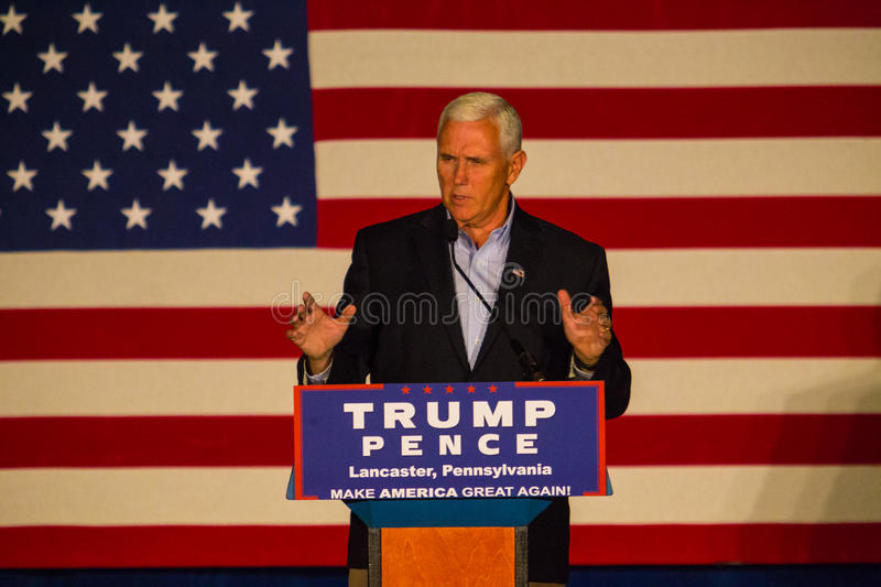 Gov Mike Spence in Lancaster County. Lancaster, PA – August 9, 2016: GOP Vice Presidential candidate Gov. Mike Pence speaks during a campaign stop in royalty free stock photo