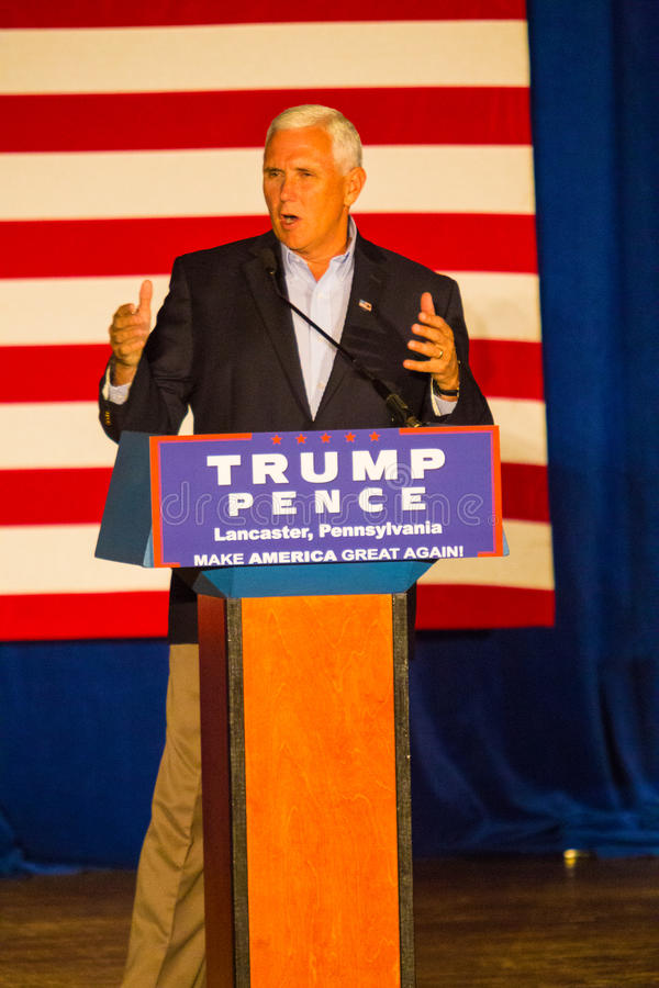Gov Pence Campaigns in Lancaster County. Lancaster, PA – August 9, 2016: GOP Vice Presidential candidate Gov. Mike Pence speaks during a campaign stop in royalty free stock photo