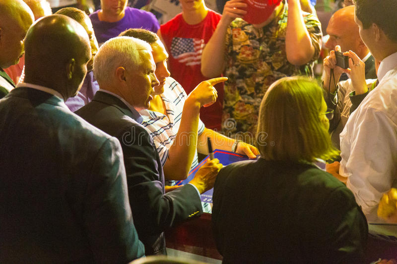 Gov Pence Poses at PA GOP Town Hall. Lancaster, PA – August 9, 2016: GOP Vice Presidential candidate Gov. Mike Pence shakes hands following a campaign stock photos