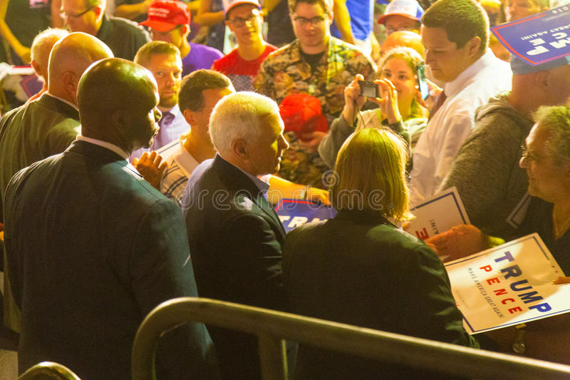 Gov Pence Shakes Hands at PA GOP Town Hall. Lancaster, PA – August 9, 2016: GOP Vice Presidential candidate Gov. Mike Pence shakes hands following a stock photography