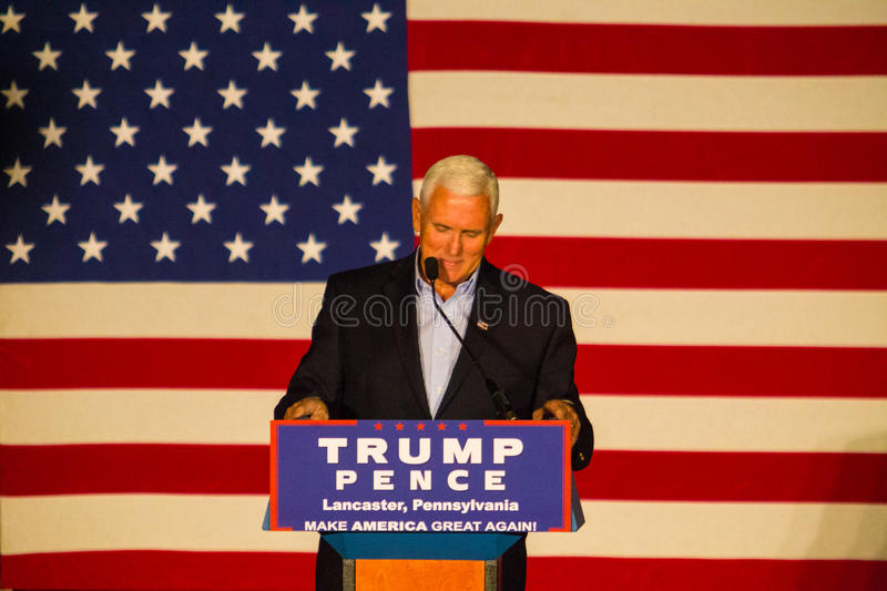 Gov Pence Speaks at PA GOP Rally. Lancaster, PA – August 9, 2016: GOP Vice Presidential candidate Gov. Mike Pence speaks during a campaign stop in stock photography