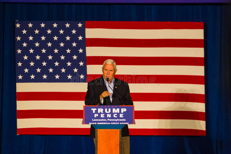 Gov Pence Speaks at PA GOP Town Hall. Lancaster, PA – August 9, 2016: GOP Vice Presidential candidate Gov. Mike Pence speaks during a campaign stop in stock photos