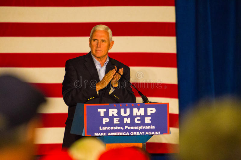 Gov Spence in Lancaster County. Lancaster, PA – August 9, 2016: GOP Vice Presidential candidate Gov. Mike Pence speaks during a campaign stop in Lancaster royalty free stock photo