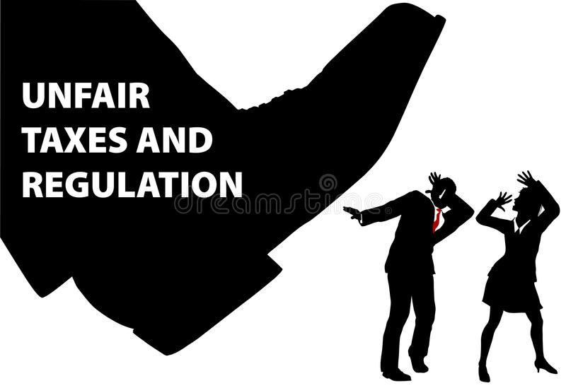 Gov TAX foot steps down on business people royalty free illustration