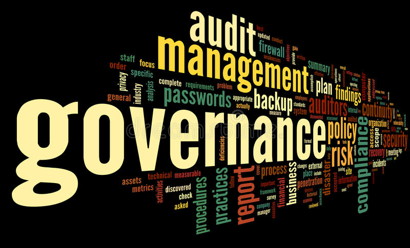Governance and compliance in word tag cloud. On black background stock illustration