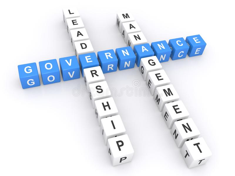 Governance crossword. 3d letters blocks in crossword puzzle shape spelling words governance, leadership and management, business concept on a white background royalty free stock photography