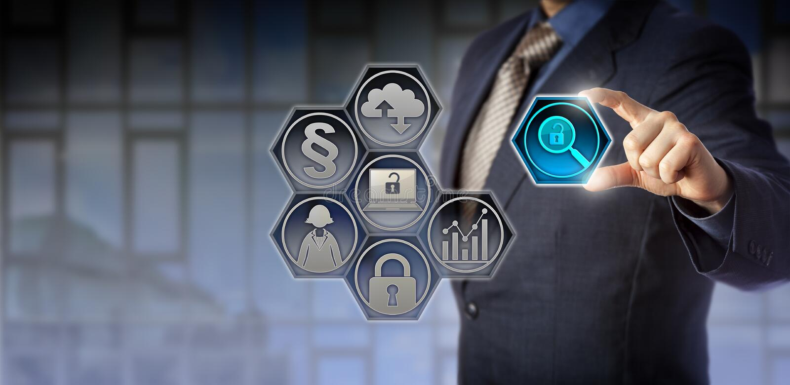 Governance Officer Managing Regulatory Compliance. Blue chip enterprise governance officer tweaking a virtual magnifier icon between thumb and index finger stock images