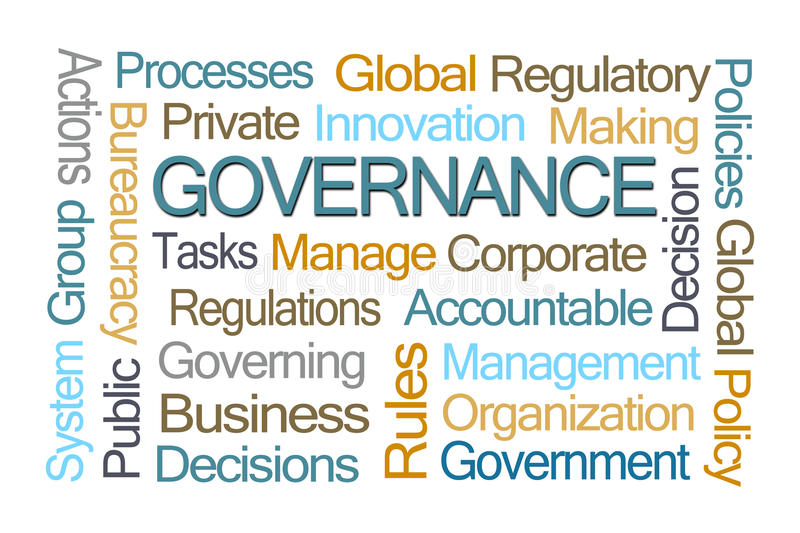 Governance Word Cloud. On White Background stock illustration