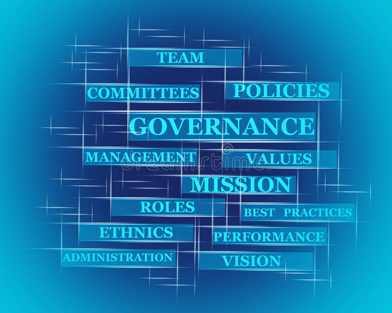 Governance word concept. On blue royalty free illustration