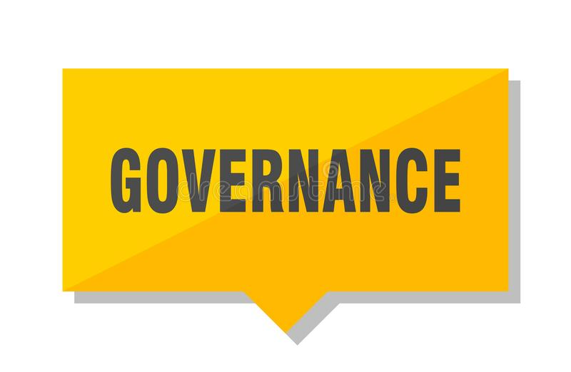 Governance price tag. Governance yellow square price tag royalty free illustration