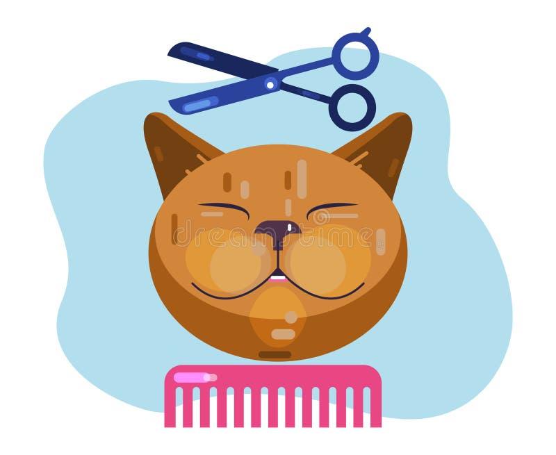 Governare del gatto Gatto di taglio di capelli Salone per gli animali illustrazione vettoriale