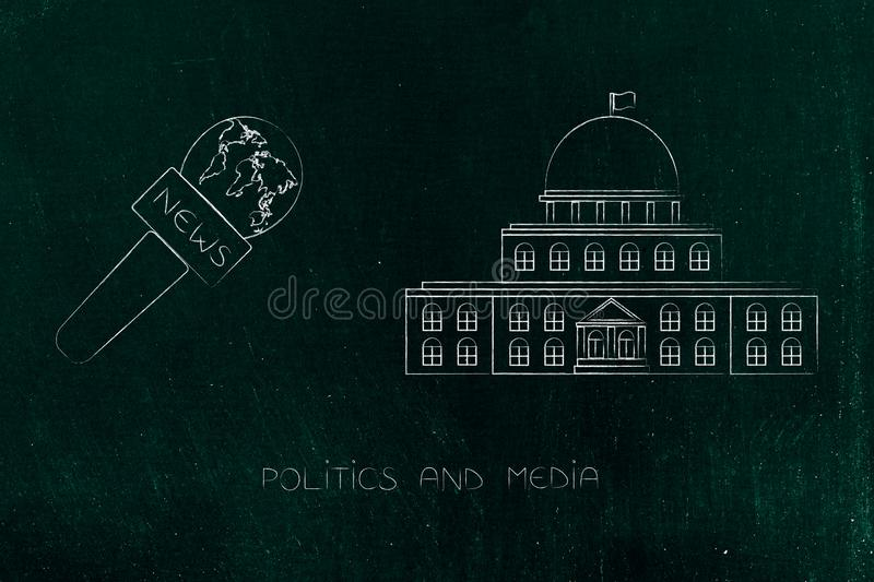 Governement building with news reporter microphones next to it. Politics and daily life conceptual illustration: governement building with news reporter royalty free illustration