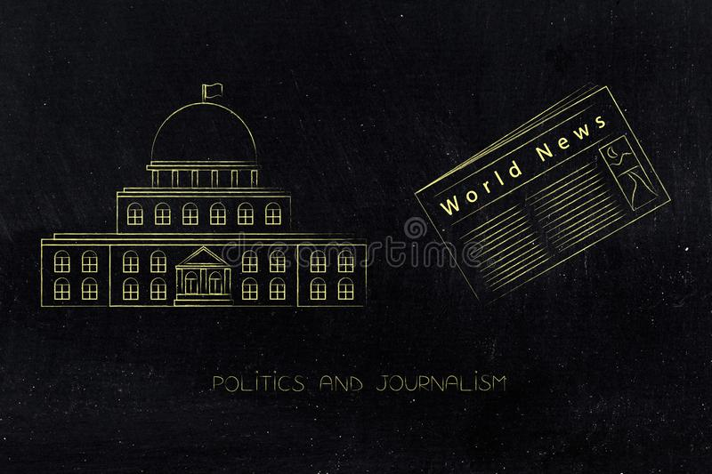 Governement building with world news newspaper next to it. Politics and daily life conceptual illustration: governement building with world news newspaper next stock illustration