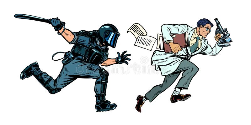 The government is against science. riot police with a baton. Pop art retro vector illustration drawing royalty free illustration