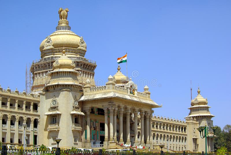 Government building Bengaluru, India. The Vidhana Soudha located in Bengaluru, is the seat of the state legislature of Karnataka. The slogan `Government Work Is royalty free stock image