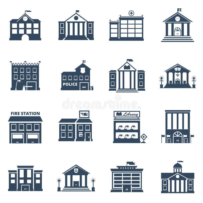 Government Building Black Icons Set. Of fire station library prison post office vector illustration stock illustration