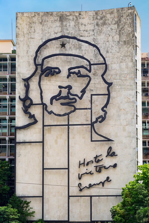 Government building in Havana with a famous Che Guevara image. Government building besides the Revolution Square in Havana with a famous Che Guevara image and stock images