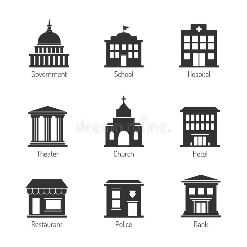 Government building icons. Editable vector set royalty free illustration
