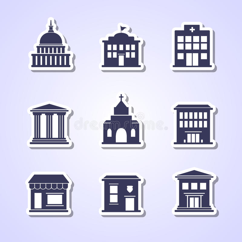 Government building icons. Government building paper cut icons stock illustration