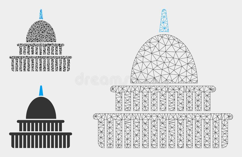 Government Building Vector Mesh 2D Model and Triangle Mosaic Icon. Mesh government building model with triangle mosaic icon. Wire frame polygonal mesh of royalty free illustration