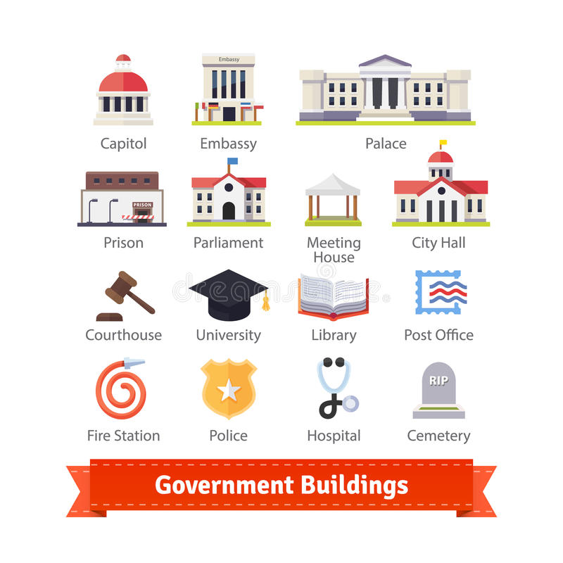 Government buildings colourful flat icon set vector illustration