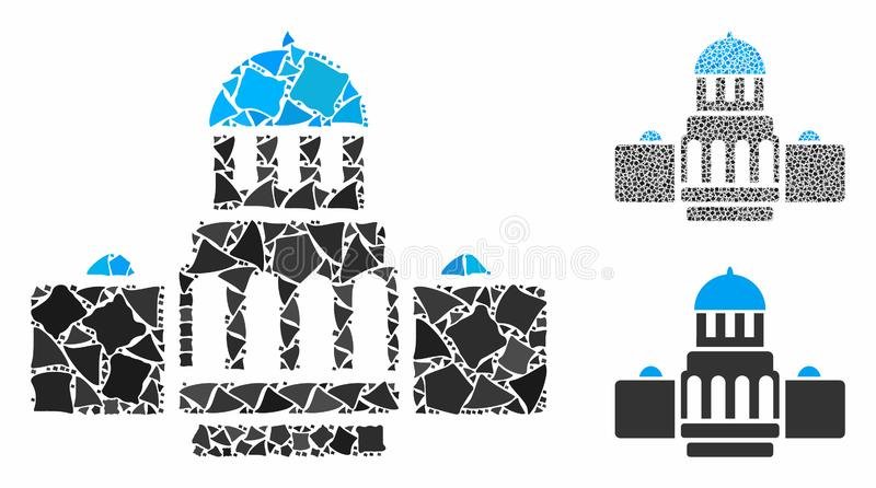 Government buildings Mosaic Icon of Irregular Elements. Government buildings composition of rough elements in various sizes and color hues, based on government royalty free illustration