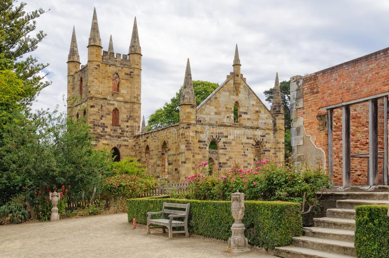 Government Cottage and Convict Church - Port Arthur. Ruins of the Government Cottage and the Convict Church at the Port Arthur Historic Site - Tasmania stock photos