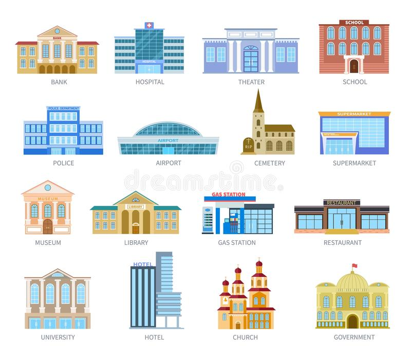 Government flat houses. Bank hospital school university airport police library church. Municipal city buildings exterior. Vector icons. Museum and library, gas stock illustration