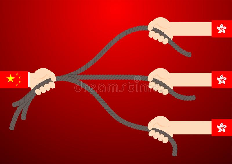 Government hand of China and citizen hand of Hong Kong flag pull rope tug of war game, Protest extradition legal problem concept. Poster and banner design stock illustration