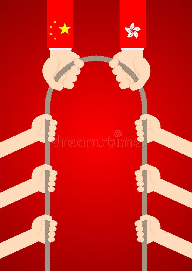 Government hand of China and Hong Kong flag with citizen hand pull rope tug of war game, Protest extradition legal problem. Concept poster and banner design stock illustration