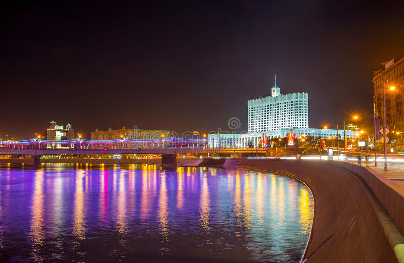 The Government House in evening lights, Moscow stock photos