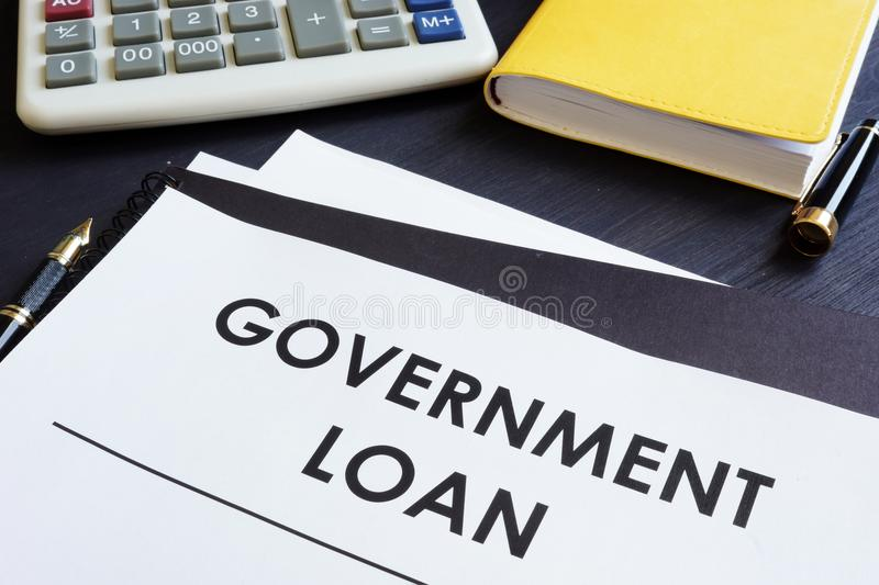 Government loan application on a table. stock images