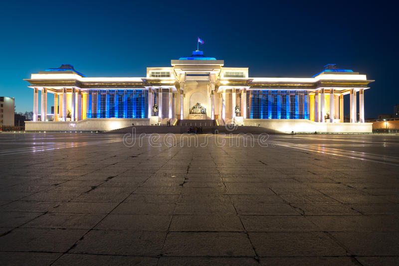 Government Palace, at Chinggis Khaan Square, in Ulaanbaatar, Mon royalty free stock images