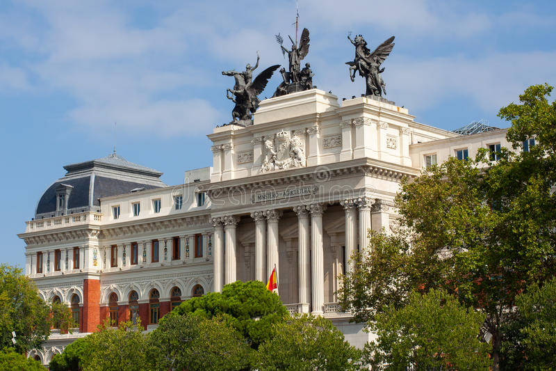 Government palace facade the Ministry of Agriculture in Madrid. royalty free stock photo