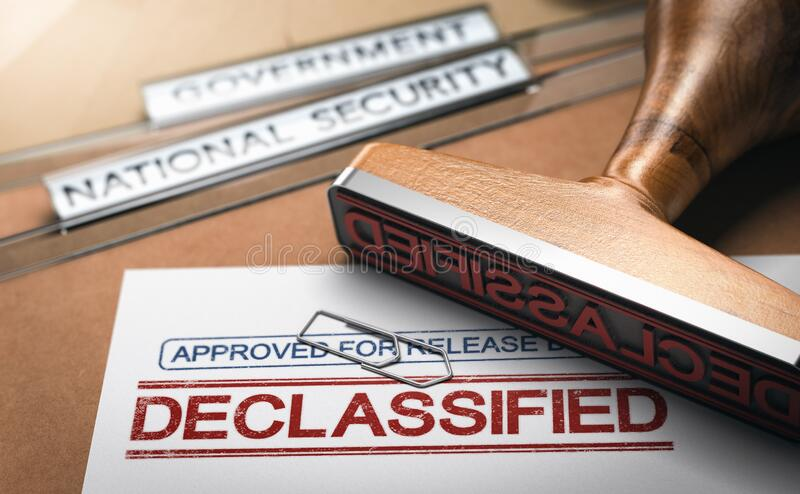 Government secrecy. Declassified documents and sensitive information stock photo