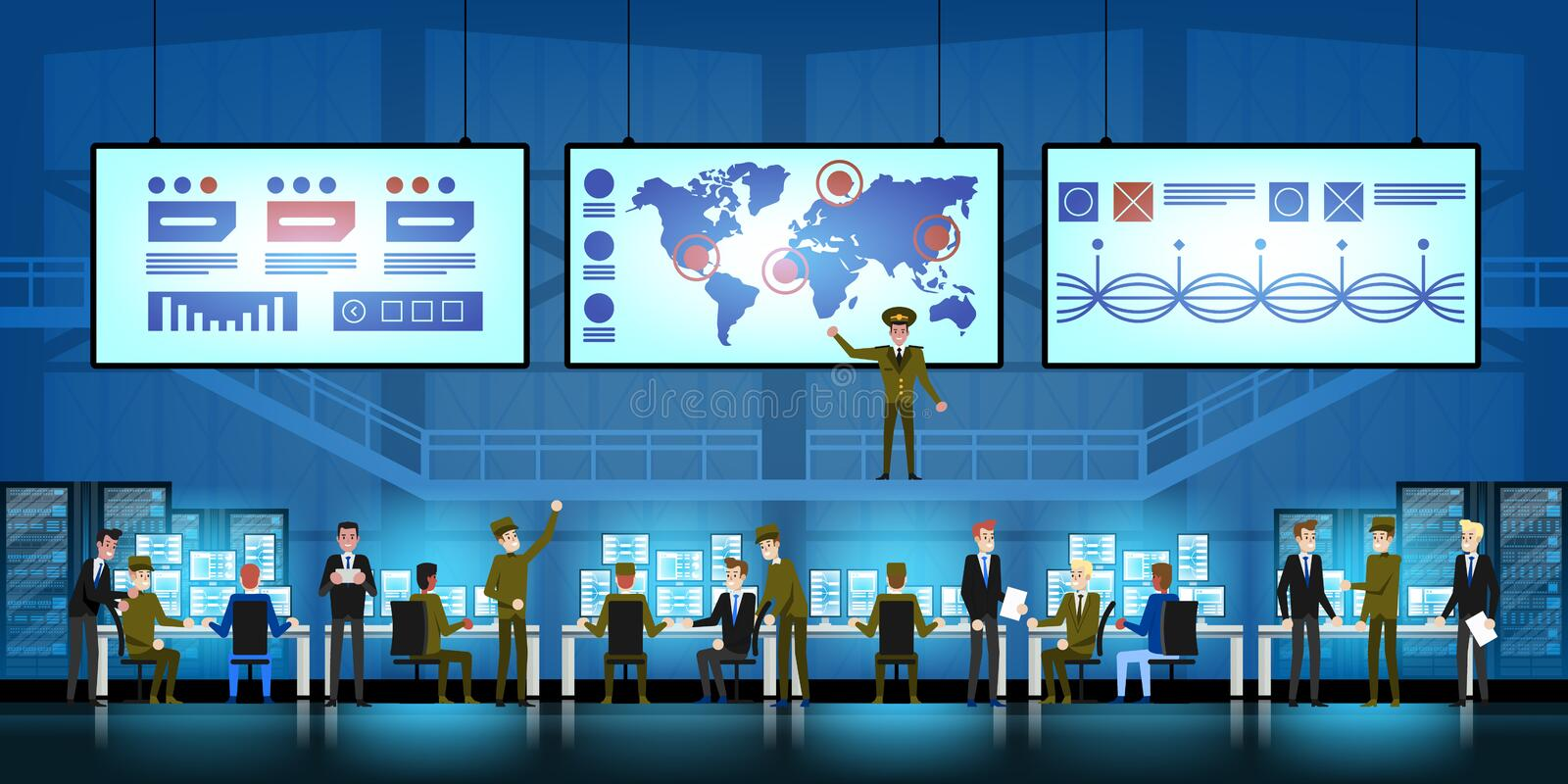 Government Surveillance Agency and Military Joint Operation in command control center. People and the military Working. Government Surveillance Agency and stock illustration