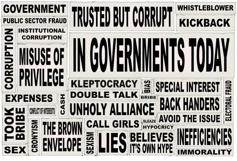 Government Today Paper Cuttings. A collage of all the usual headline words associated with any government, anywhere royalty free illustration
