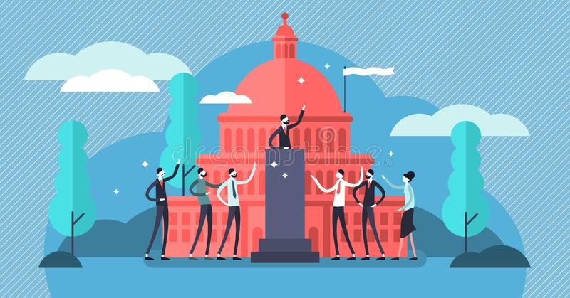 Government vector illustration. Flat tiny political speech persons concept. Democratic election campaign. Political debates and parliament voting. National stock illustration