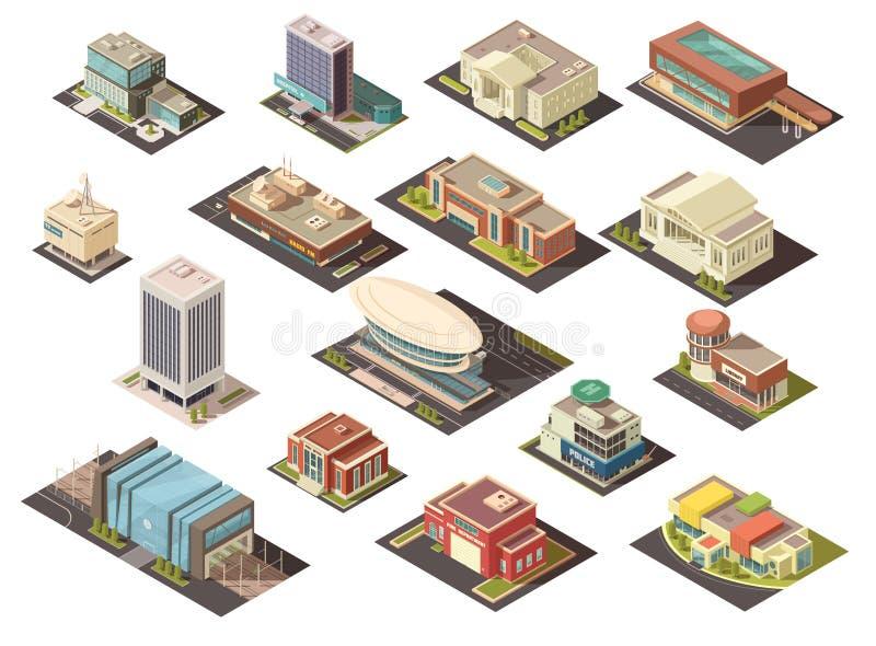 Governo che sviluppa insieme isometrico illustrazione di stock