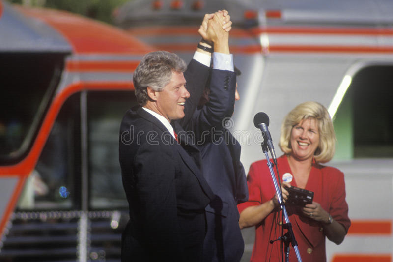 Governor Bill Clinton. And Senator Al Gore at a Ohio campaign rally in 1992 on his final day of campaigning, Cleveland, Ohio royalty free stock photos