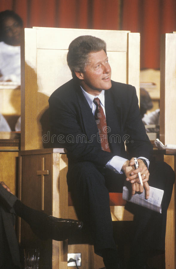 Governor Bill Clinton. Stops at the Olivet Baptist Church in Cleveland, Ohio during the Clinton/Gore 1992 Buscapade Great Lakes campaign tour stock photo
