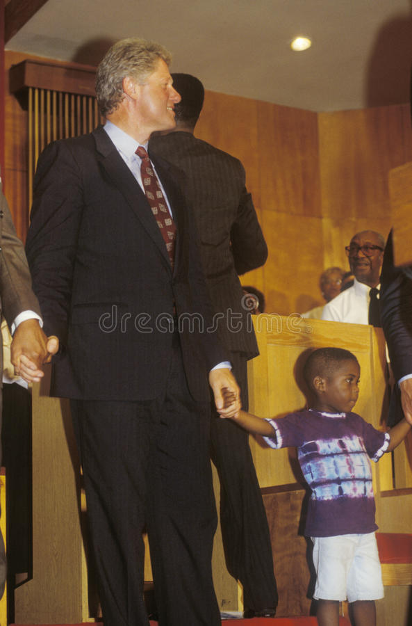 Governor Bill Clinton. Attends service at the Olivet Baptist Church in Cleveland, Ohio during the Clinton/Gore 1992 Buscapade Great Lakes campaign tour stock image