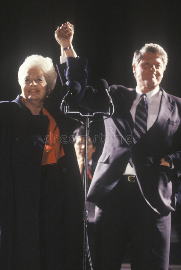 Governor Bill Clinton and Governor Ann Richards at a Texas campaign rally in 1992 on his final day of campaigning, Fort Worth, Tex. As royalty free stock photos