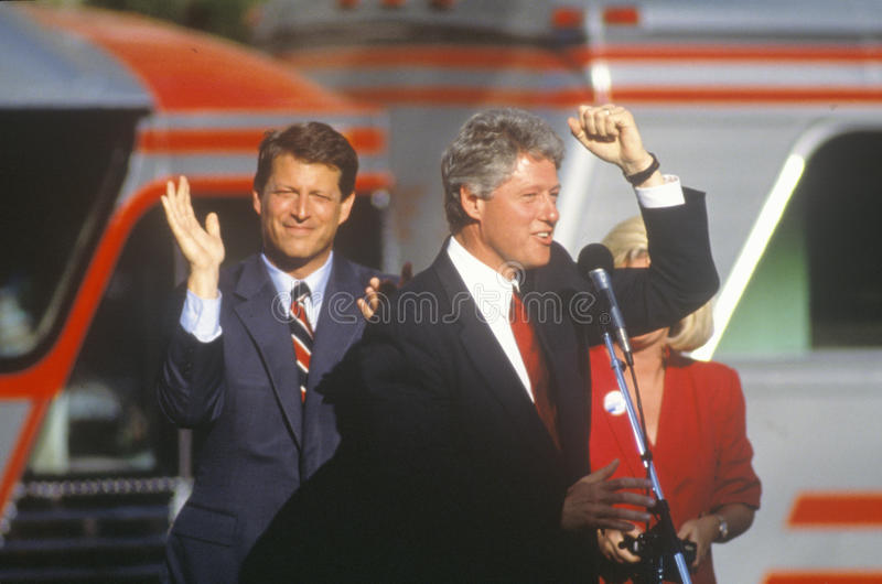 Governor Bill Clinton and Senator Al Gore. On the 1992 Buscapade campaign kick off tour in Cleveland, Ohio royalty free stock photos