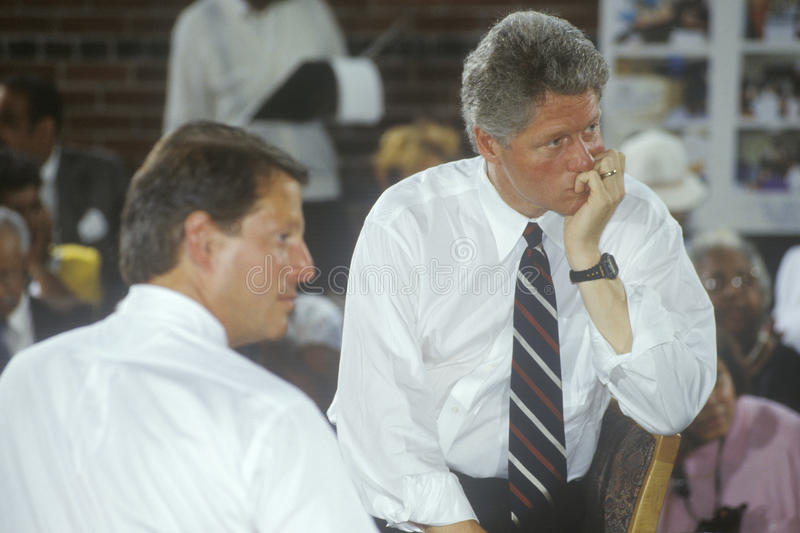 Governor Bill Clinton and Senator Al Gore. At the Louis Stokes Day Care Center during the 1992 Buscapade campaign tour in East Cleveland, Ohio stock image