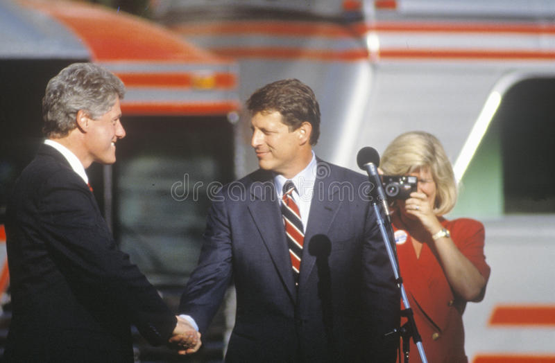 Governor Bill Clinton and Senator Al Gore shake hands at a Ohio campaign rally in 1992 on his final day of campaigning. Cleveland, Ohio royalty free stock photo