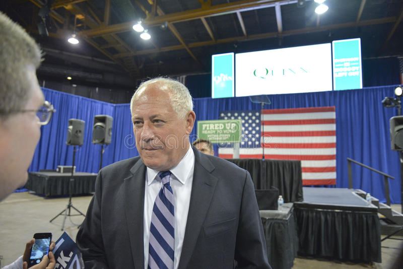 """Governor of Illinois, Pat Quinn. CHICAGO, ILLINOIS/ USA - 7th TUESDAY OCTOBER 2014 : Governor of Illinois, Pat Quinn told the crowd that """"Illinois is Obama stock photography"""