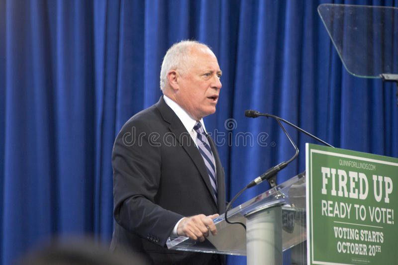 """Governor of Illinois, Pat Quinn. CHICAGO, ILLINOIS/ USA - 7th TUESDAY OCTOBER 2014 : Governor of Illinois, Pat Quinn told the crowd that """"Illinois is Obama royalty free stock photos"""