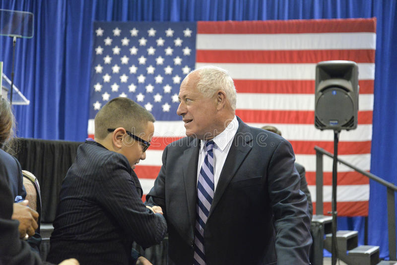"""Governor of Illinois, Pat Quinn. CHICAGO, ILLINOIS/ USA - 7th TUESDAY OCTOBER 2014 : Governor of Illinois, Pat Quinn told the crowd that """"Illinois is Obama stock images"""