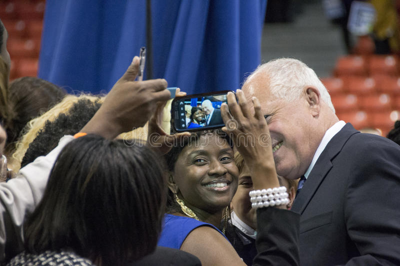 """Governor of Illinois, Pat Quinn. CHICAGO, ILLINOIS/ USA - 7th TUESDAY OCTOBER 2014 : Governor of Illinois, Pat Quinn told the crowd that """"Illinois is Obama royalty free stock photography"""